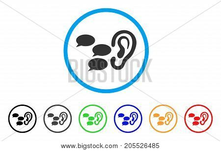 Listen Gossips rounded icon. Style is a flat listen gossips grey symbol inside light blue circle with black, gray, green, blue, red, orange color versions.