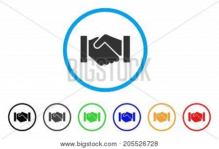 Relation Handshake rounded icon. Style is a flat relation handshake grey symbol inside light blue circle with black, gray, green, blue, red, orange versions.