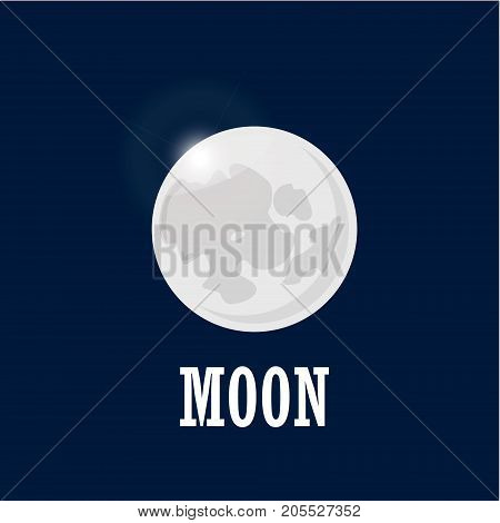 Bright moon on the night sky. Realistic moon in space on dark background with lettering