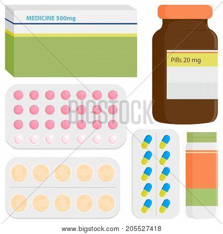 Medicine, prescription bottles, drugs and pills. Vector illustration