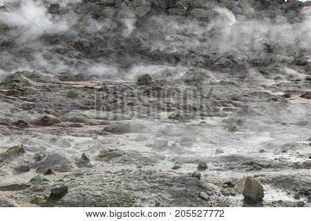 Detail of steaming fumaroles at Hverir geothermal area in north Iceland