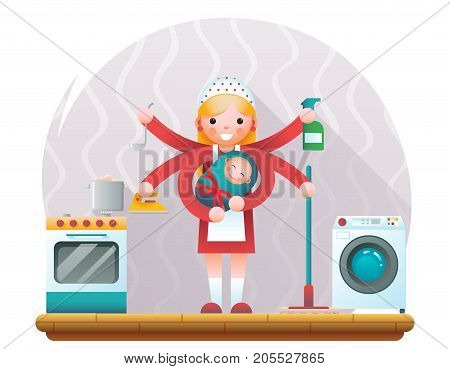 Cute young housewife with child accessories icons home room interior background flat design concept template vector illustration