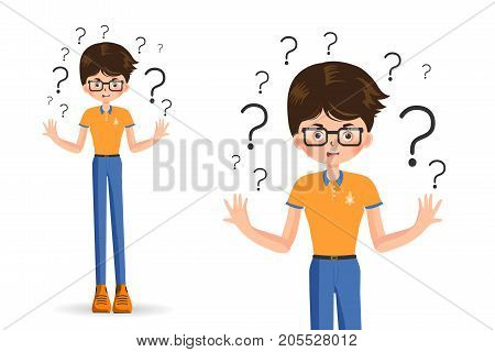 boy spread out her hands in misunderstanding isolated on white background vector illustration. Sad young woman with open hands gesture. A charming adult girl shrugs shoulders.Feel puzzled