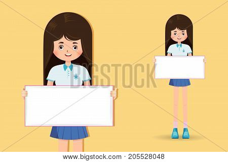 cute little girl student holding banner isolated on yellow background vector illustration