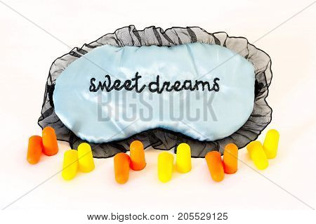 Sleep Mask On White Sweet Dreams Ear Plugs