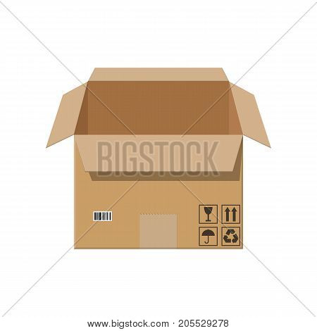Open cardboard box. Carton delivery packaging box with fragile signs. Vector illustration in flat style poster