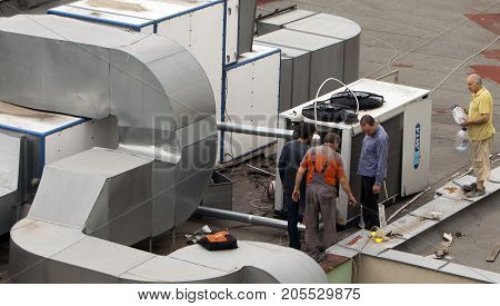 Construction Workers Ventilation And Air Conditioning Systems