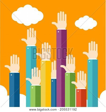 Raised People Hands Up Different Together Teamwork Connection Gesture Volunteering Flat Design Style. Vector illustration of Arm Voting