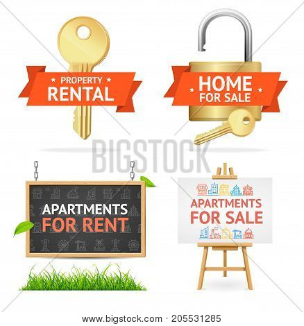 Realistic Detailed Real Estate Signs Set Padlock, Key, Board and Easel Advertising and Presentation Building Concept. Vector illustration of Ad Equipment