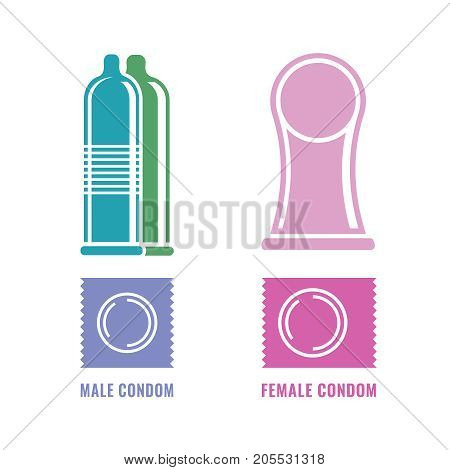 Female and male condoms. Modern contraception method. Contraceptive icons set. Safe sex, disease prevention and birth control. Planning pregnancy. Flat vector illustration isolated on white background