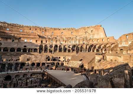Rome, Italy - August 21, 2016: Interior view of The Colosseum or Coliseum, also known as the Flavian Amphitheatre. It is an oval amphitheatre in the centre of the city of Rome.