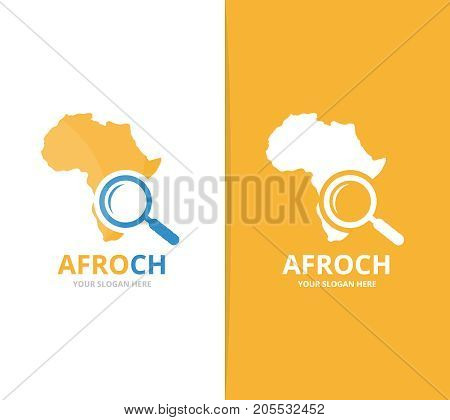 Vector africa and loupe logo combination. Safari and magnifying symbol or icon. Unique geography, continent and search logotype design template.