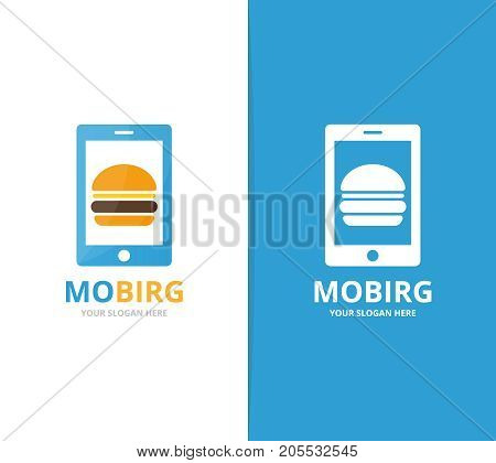 Vector burger and phone logo combination. Hamburger and mobile symbol or icon. Unique fastfood and device logotype design template.