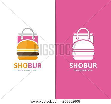 Vector burger and shop logo combination. Hamburger and sale symbol or icon. Unique fastfood and bag logotype design template.