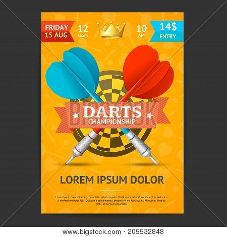 Darts Tournament Poster Card Template Realistic Target, Arrow Equipment Place for Text. Vector illustration of Darts Competition