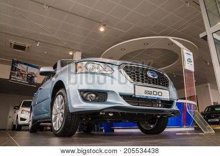 Russia, Kirov - May 16, 2017: Showroom and car Datsun of dealership Prestig avto in Kirov city in 2016