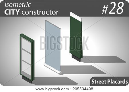 Set of modern isometric street billboards. Illustration for your infographic, city, map or business design. Detailed vector clip art with easy editable colors