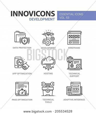Web Page Development - modern essential vector line design icons set. Data protection, hand, wireframe, app optimization, mobile device, hosting, cloud, technical support, tools, wrench, adaptive interface