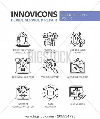 Device Service - modern vector line design icons set. Operating system installation, specialist, mobile, laptop repair, technical support, virus removing, internet setup, data recovery, diagnostic
