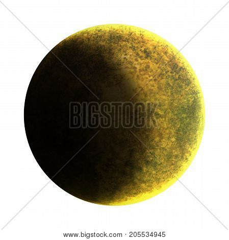 Half Moon isolated over white background. Crescent Moon is an astronomical body that orbits planet Earth, being Earth's only permanent natural satellite. 3D illustration.