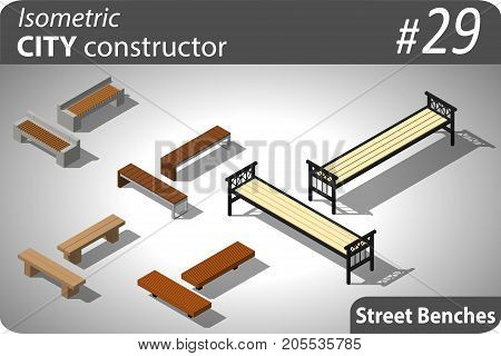 Set of modern isometric street benches. Illustration for your infographic, city, map or business design. Detailed vector clip art with easy editable colors