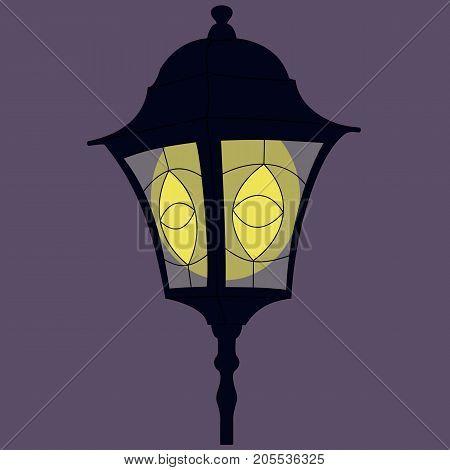 Black Retro Street Lamp On Violet Background.