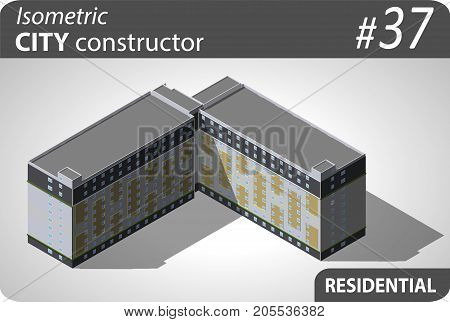 Isometric residential building. Illustration of urban or rural houses and dwellings. For your infographic, city, map or business design. Detailed vector clip art with easy editable colors