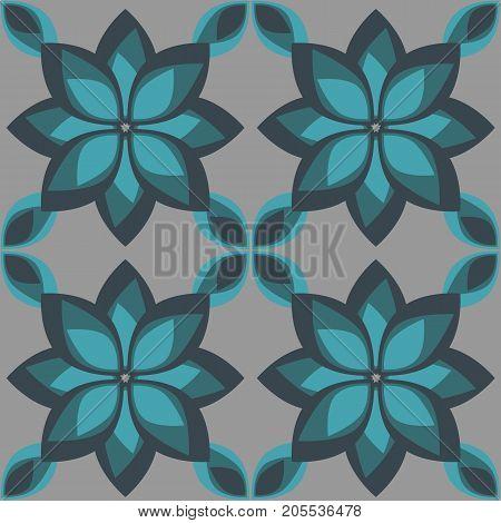 Simple Geometric Flower Seamless Pattern, Vector Illustration.