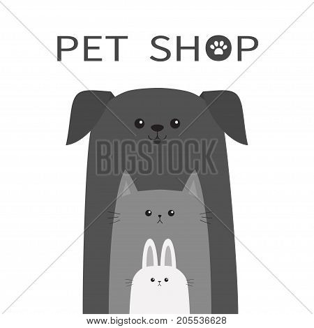 Pet shop icon. Dog cat rabbit hare animal. Happy pets set. Paw print. Veterinary design element. Cute cartoon funny character. Friends forever. Flat. White background. Isolated. Vector illustration
