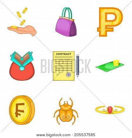Fortune icons set. Cartoon set of 9 fortune vector icons for web isolated on white background