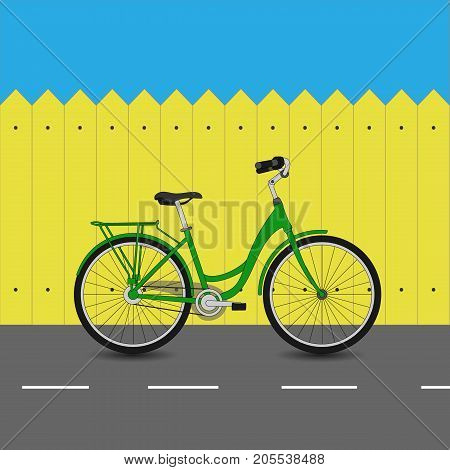Green Bicycle On Asphalt Road And Yellow Fence, Vector Illustration.