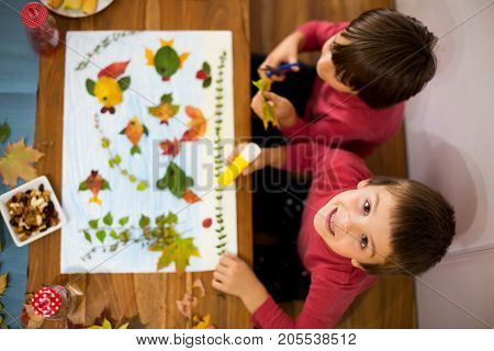 Sweet Children, Boys, Applying Leaves Using Glue