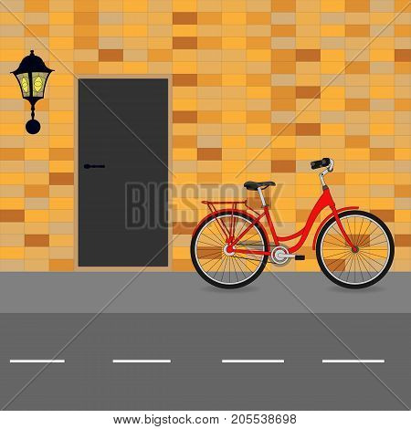 Red Bike Against The Wall Next To The Door And Street Lamp, Vector Illustration.