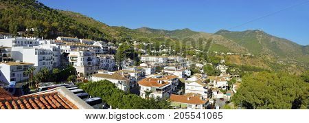 View Of Little Village With Green Landscape The Hill In Mijas