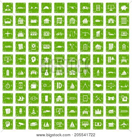 100 private property icons set in grunge style green color isolated on white background vector illustration