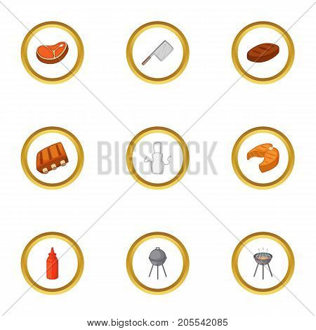 Camping cooking icons set. Cartoon style set of 9 camping cooking vector icons for web design