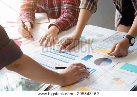 Creative talking or meeting plan design job in office with holding tablet for consulting.