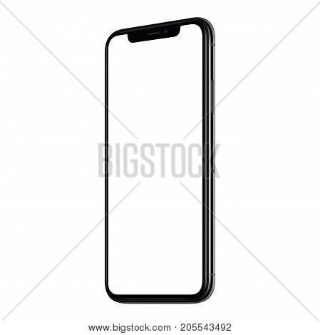 Smartphone mockup similar to iPhone X. New modern black frameless angled clockwise smartphone mockup with white screen. Isolated on white background. Smartphone frameless design concept.
