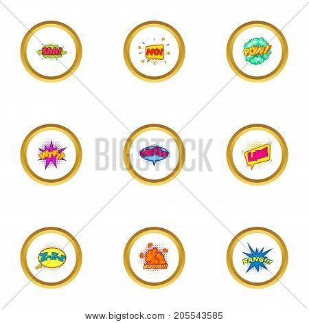 Trendy speech bubble icons set. Cartoon style set of 9 trendy speech bubble vector icons for web design