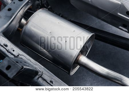 Automobile exhaust pipe muffler clean new underbody car