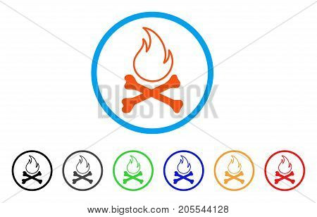 Bones Hell Fire rounded icon. Style is a flat bones hell fire orange symbol inside light blue circle with black, gray, green, blue, red, orange versions.