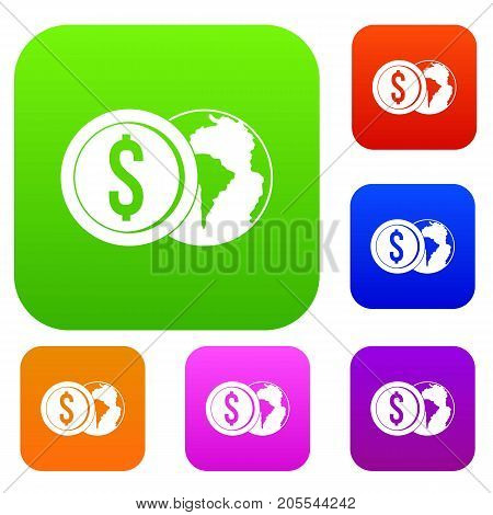 World planet and dollar coin set icon color in flat style isolated on white. Collection sings vector illustration
