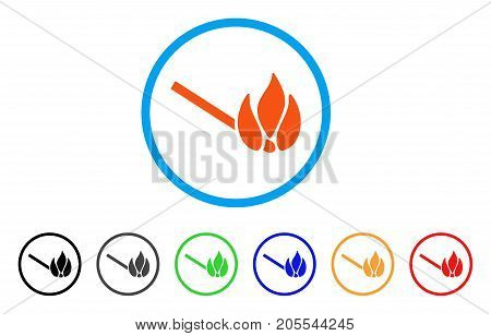 Burn Match rounded icon. Style is a flat burn match orange symbol inside light blue circle with black, gray, green, blue, red, orange color versions. Vector designed for web and software interfaces.