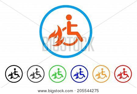 Burn Patient rounded icon. Style is a flat burn patient orange symbol inside light blue circle with black, gray, green, blue, red, orange versions. Vector designed for web and software interfaces.
