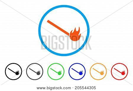 Burned Match rounded icon. Style is a flat burned match orange symbol inside light blue circle with black, gray, green, blue, red, orange versions. Vector designed for web and software interfaces.
