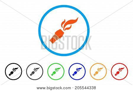 Burner Nozzle Fire rounded icon. Style is a flat burner nozzle fire orange symbol inside light blue circle with black, gray, green, blue, red, orange color versions.