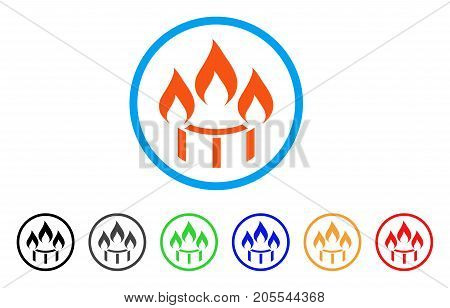 Burner Nozzle Fire rounded icon. Style is a flat burner nozzle fire orange symbol inside light blue circle with black, gray, green, blue, red, orange versions.