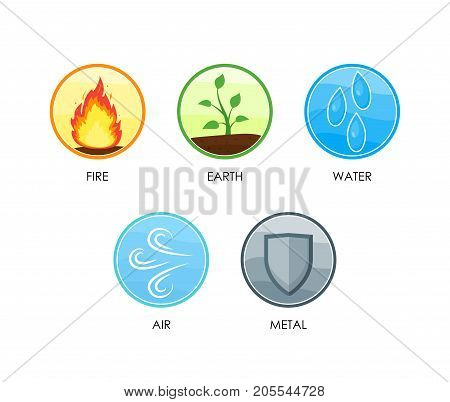 Ayurvedic Therapy Five Elements of Nature Set Include of Fire, Water, Earth, Air and Metal Energy Symbol Oriental Culture. Vector illustration of 5 Element
