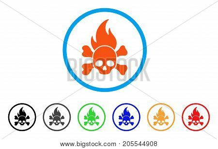Death Fire rounded icon. Style is a flat death fire orange symbol inside light blue circle with black, gray, green, blue, red, orange variants. Vector designed for web and software interfaces.
