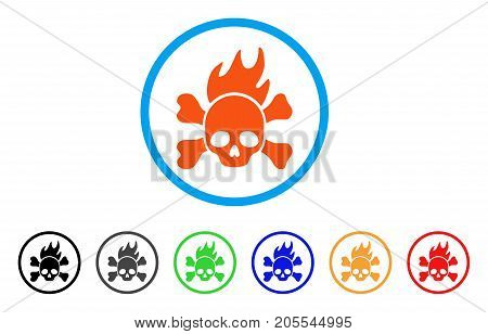 Death Fire rounded icon. Style is a flat death fire orange symbol inside light blue circle with black, gray, green, blue, red, orange versions. Vector designed for web and software interfaces.